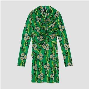 Zara Dresses - Zara green floral print round neck draped dress